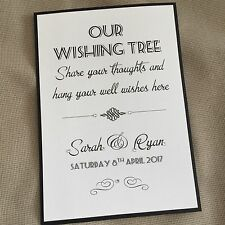 Handmade Personalised Vintage Style Wedding Wishing Wish Tree Sign