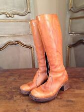 Vintage Womens Tall Campus Riding Boots In Size 6.5 B Side Zip Brown