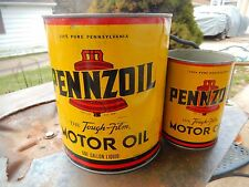 VTG PennZoil Z-7 Liberty RED BELL Big Oil Can LOT 2 ORIGINAL Gas Service STATION