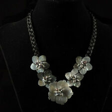"""g1854 42x12-32x12mm Black shell pearl flower necklace 20"""""""