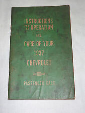 VINTAGE OLD CAR AUTO 1937 CARE OF YOUR CHEVROLET PASSENGER CARS BOOK