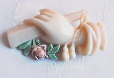 Antique Hand Mourning Early Plastic Brooch Pin