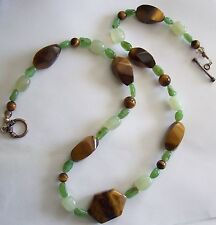 Lovely Two Shades of Green JADE and TIGER EYE Necklace