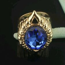 18k Yellow Gold Plated Size 7.5 Red Garnet Ruby Austrian Crystal Ring Gift D032
