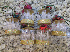 NEW LOT/ 6 CAROUSEL  CHRISTMAS ORNAMENTS CLEAR ACRYLIC /GOLD SPARKLE EMBELLISHED
