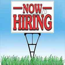 """18""""x24"""" NOW HIRING Outdoor Yard Sign & Stake Sidewalk Lawn Apply Within Jobs"""