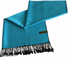 Turquoise & Black Solid Colour Shawl Pashmina Scarf Wrap Stole CJ Apparel *NEW*