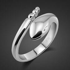 Fashion Genuine Solid Sterling Silver Snake Ring Size Adjustable PR028