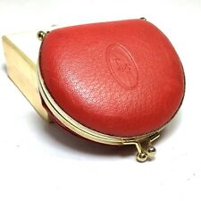 Vtg CHRISTIAN DIOR Red Leather Expandable Coin Change Purse Wallet Bag