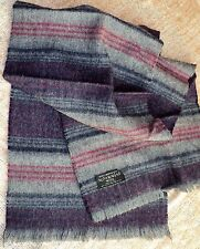 "Vintage Australian Wool Men's Scarf Muffler Gray Red Navy Blue 12"" x 48"" -Estate"