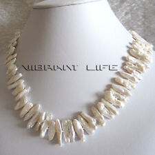 """18"""" 5-22mm White Pipa Freshwater Pearl Necklace Strand Jewelry U"""