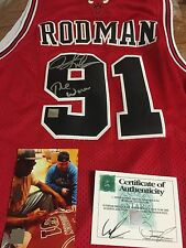 AUTOGRAPHED DENNIS RODMAN CHICAGO BULLS JERSEY INSCRIBED THE WORM SSG CERTIFIED