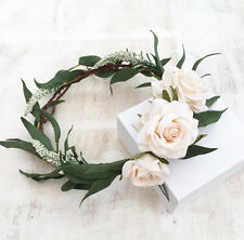 Woodland green foliage leaf and ivory rose CARA flower crown - bridal - wedding