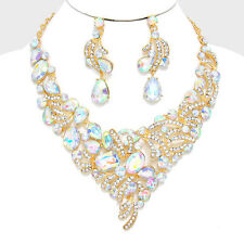 GLAM VINTAGE Statement Gold AB Crystal Necklace & Earrings By Rocks Boutique