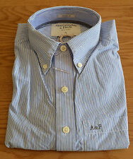 Nueva Abercrombie & Fitch Ridge Trail Rayas Azul A Rayas Camisa S RRP £ 82