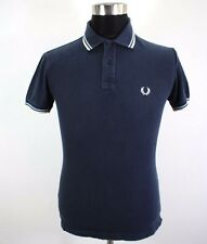 Mens FRED PERRY Polo Shirt, Size S, Short sleeves, 100% cotton blue BL1711