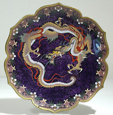 Japanese Cloisonne Enamel on Copper Hand Decorated Dragon Motif Charger C. 1900