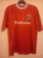 BUDWEISER MATCH WORN FOOTBALL SHIRT BUDWEISER CUP 6 v 6 RED # 5 SIX A SIDE VGC
