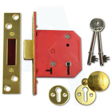 """Union 2101 5 Lever Mortice Door Deadlock 64mm/2.5"""" Polished Brass Keyed To Diffe"""