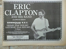 "ERIC CLAPTON AT BIRMINGHAM N.E.C. 22&23/1/87, N.M.E. ADVERT, PICTURE,11"" X 7.5"""