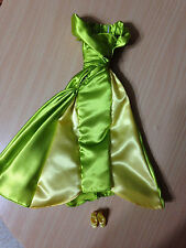 Barbie Doll Lady Tremaine Princess Queen Green Satin Dress Evening Gown Shoes