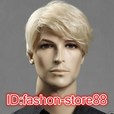 Fashion wig sexy men boys short Blonde Natural Hair full wigs + Free Wig cap