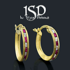 10k Yellow Gold Women's Red and White Huggies CZ Hoop Earrings