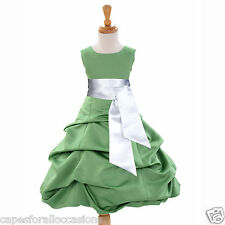 NEW HOLIDAY CLOVER GREEN CHRISTMAS PAGEANT DRESS FLOWER GIRL 2 4 6 8 10 12 14 16