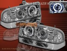 1998-2004 CHEVY S10/BLAZER JDM CHROME HALO PROJECTOR HEADLIGHTS + BUMPER 4 PCS
