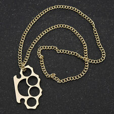 Women Alloy Sweater Charm Knuckle Duster Pendant Necklace Gift Punk Gold