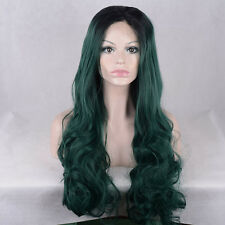 Ombre Dark Green Color Long Wavy Hairstyle Synthetic Lace Front Wigs For Women