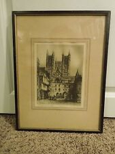 Vintage Framed Art Print Signed Hassoel Lincoln Cathedral Black and White