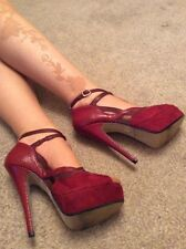 TopShop T Bar Mary Jane Stiletto Court Pillar Box Red Size 6 US 8