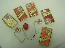 10 VINTAGE PURSE HANDBAG TABLE CADDY HOLDERS with FLOWERS & LADY & GENT