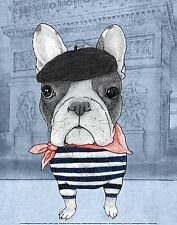 DOG ART PRINT: French Bulldog with Arc de Triomphe by Barruf 11x14 France Poster