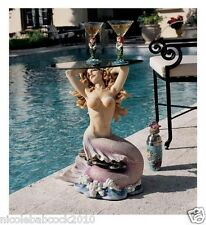 FANTASY MERMAID NAUTICAL SCULPTURE COCKTAIL GLASS TABLE INDOOR OUTDOOR SEA DECOR
