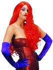 LADIES 80s JESSICA ROGER LONG RED RABBIT COSTUME PARTY GLAM FANCY DRESS WIG NEW