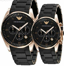 EMPORIO ARMANI AR5905-AR5906 COUPLE, Black SPORTIVO CHRONOGRAPH WRIST WATCHES