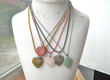 Gemstone Heart Pendant Necklaces 5 in lot