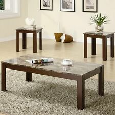 Wooden Coffee Table and End Table w Brown Marble Look Top 3Pc Set Furniture
