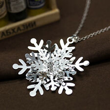 3D Big Snowflake Gemstone Pendant Chain Silver Necklace Lady Jewelry