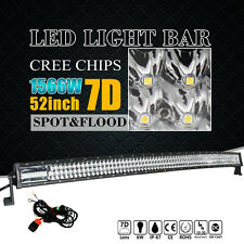 7D 52INCH CREE LED WORK DRIVING LIGHT CURVED BARS 1566W COMBO 4WD SUV JEEP VS 6D