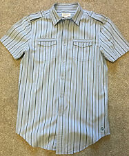 DIESEL MILITARY STYLE BABY BLUE STRIPE SHORT SLEEVE SHIRT S SMALL COST £85