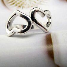 Bonito color plata dos corazones anillo talla UK P