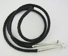 Top Quality Black Leather 6 Ply Bolo Tie Cord & Large Sterling Silver Tips