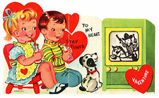KIDS WATCH COWBOY SHOW ON OLD TUBE TELEVISION - TV / VINTAGE VALENTINE CARD