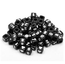 100 Black Mixed Numbers Cube Beads 6mm