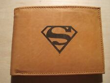 "Mankind Wallets-Men's Tan Leather Billfold with FREE ""Superman"" Image"