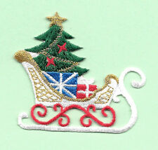 Christmas - Christmas Sleigh - Sled - Embroidered Iron On Applique Patch