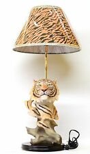 Tiger Statue Lamp with Cheetah Print Lamp Shade Animal Table Lamp